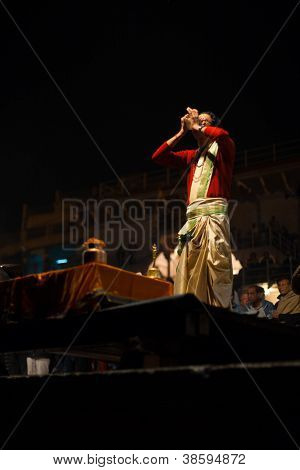 Brahmin Priest Blowing Conch Puja Varanasi Ghat