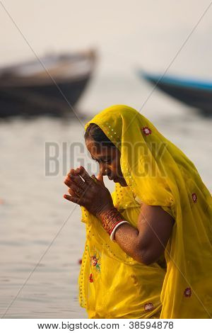 Hindu Woman Bowing Praying Ganges River Varanasi