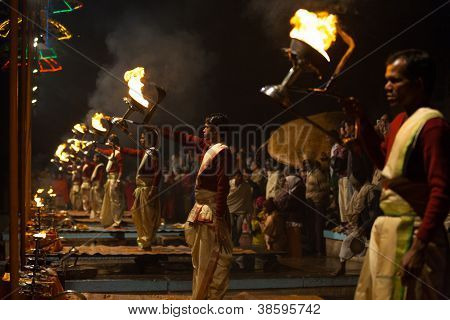 Fire Lantern Hindu Priest Pooja Prayers Varanasi
