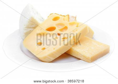 various types of cheese on white platter isolated on white background