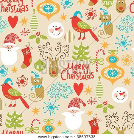 seamless background, Christmas and New Year's decorative elements
