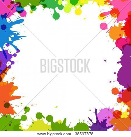 Rahmen mit Farbe Blobs, Isolated On White Background, Vector Illustration