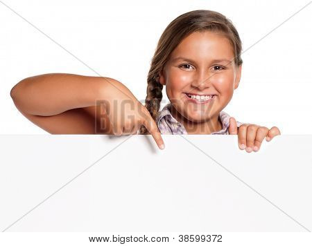 Portrait of happy girl with white blank isolated on white background