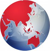 Map Of Asia On Globe Illustration poster