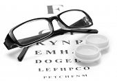 stock photo of snellen chart  - glasses and contact lenses in containers - JPG