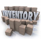 A surplus or oversupply of products in cardboard boxes in a stockroom or warehouse with the word Inv