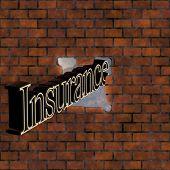 Insurance Text Crashing Through Brick Wall