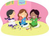stock photo of slumber party  - Illustration of Girls Having a Slumber Party - JPG