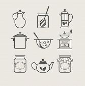 picture of tablespoon  - tableware set icon vector illustration - JPG