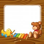 stock photo of idiophone  - illustration of toys and board  on a white backgound - JPG