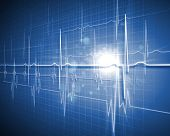 stock photo of ecg chart  - A medical background with a heart beat  - JPG