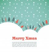 stock photo of ash-tree  - Xmas vector background with trees and snow - JPG