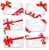 foto of bowing  - Set of beautiful cards with red gift bows with ribbons Vector - JPG