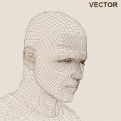 Vector eps concept or conceptual 3D wireframe human male or man head isolated on beige background as