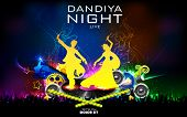 illustration of people dancing on disc in dandiya night