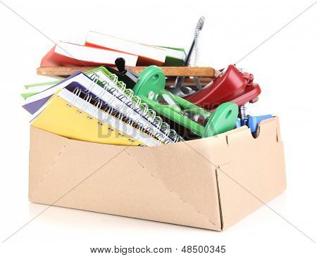 Personal property in carton isolated on white