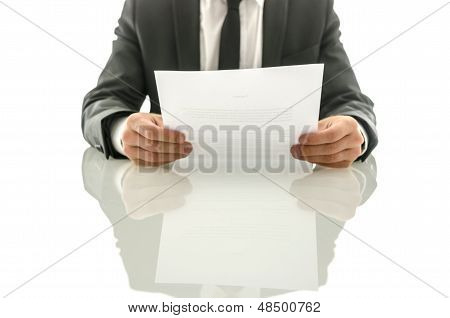 Businessman Reading Important Document