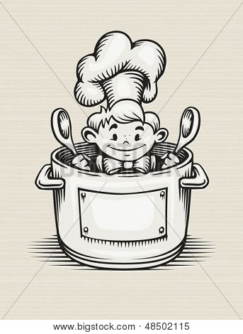 smiling boy cooking in the kitchen sitting in the pot with two big spoons in his hands - EPS10 vector illustration