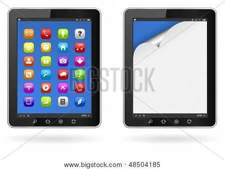 tablet pc with application icons and paper curl page