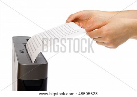 Hand And Paper Shredder