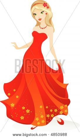 Vector Illustration Of Pretty Young Cartoon Girl