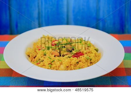 Paella - Traditional Spanish paella with seafood and chicken