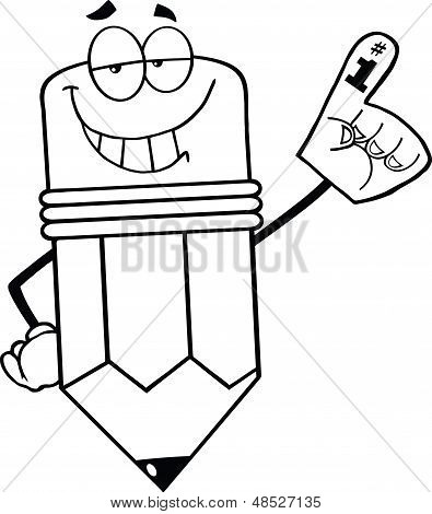 Outlined Smiling Pencil Character With Foam Finger