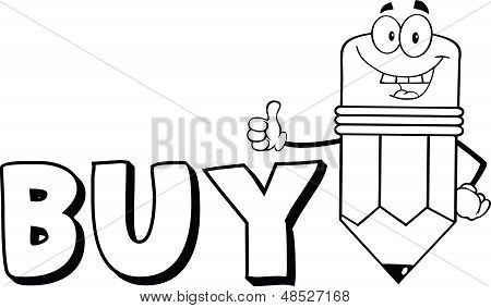 Outlined Pencil Character Giving A Thumb Up With Text Bu