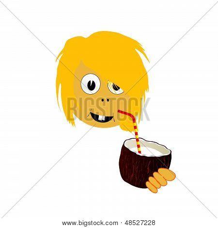 Girl Drinking Coconut Milk