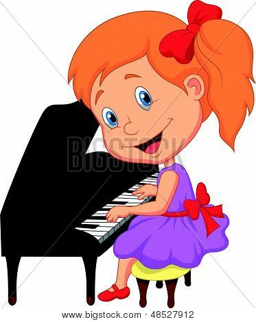 Cute little girl cartoon playing piano