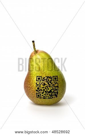 pear with qr code on a white background