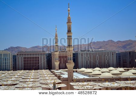 Minarets in Nabawi Mosque in Medina at noon