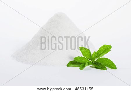 stevia leaf with a pile of sugar