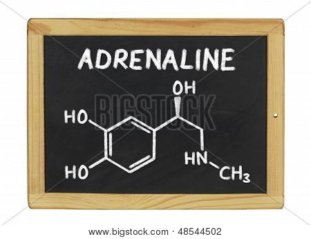 chemical formula of adrenaline on a blackboard
