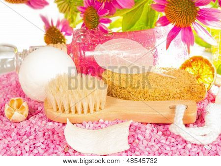 Bathing Accessories And Echinacea Flowers