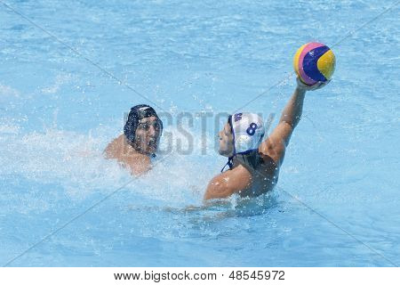 Jul 24 2009; Rome Italy; USA team player Anthony Azevedo competing in the preliminary round of the men's waterpolo at the 13th Fina World Aquatics Championships