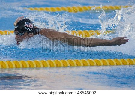 Jul 01 2009; Rome Italy; Michael Phelps (USA) competing in the mens 100m butterfly final at the 13th Fina World Aquatics Championships held in the The Foro Italico Swimming Complex.
