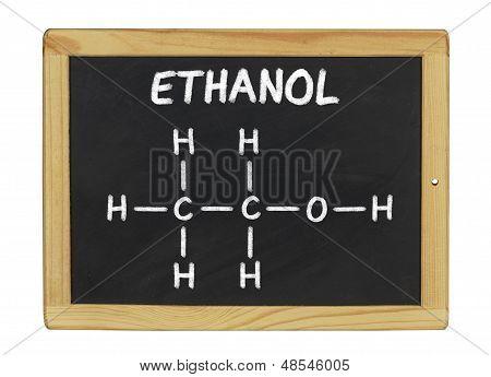 chemical formula of ethanol on a blackboard