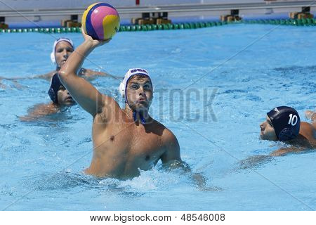 Jul 24 2009; Rome Italy; USA team player James Krumpholz competing in the preliminary round of the men's waterpolo at the 13th Fina World Aquatics Championships hel