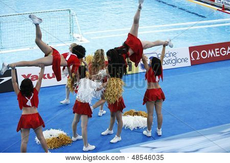 Jul 23 2009; Rome Italy; cheerleaders during the preliminary round of the women's waterpolo competition between USA and Greece at the 13th Fina World Aquatics Championships