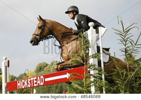 25/06/2011 HICKSTEAD ENGLAND, MAGIC FOX ridden by Shane  Breen (IRL) competing in the Bunn Leisure Speed Derby at the Hickstead Equestrian meeting held at Hickstead West Sussex England
