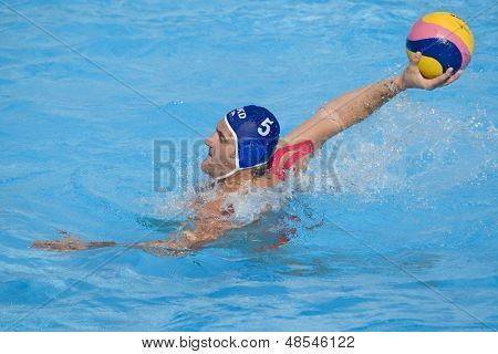 Jul 22 2009; Rome Italy; Nebojsa Milic Macedonia team player competing preliminary round waterpolo match between USA and Macedonia in the 13th Fina World Aquatics Championships