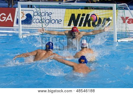Jul 22 2009; Rome Italy; Jeffrey Powers USA team player scores a goal competing preliminary round waterpolo match between USA and Macedonia in the 13th Fina World Aquatics Championships