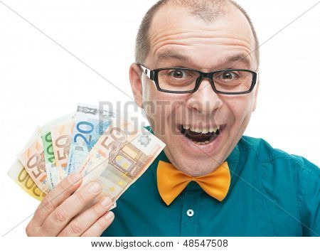 Businessman with euro money isolated on white background