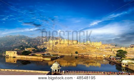 India Jaipur Amber fort in Rajasthan. Ancient indian palace architecture, panoramic view