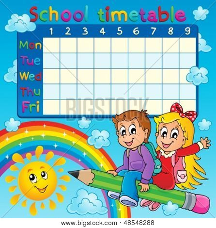 School timetable thematic image 2 - eps10 vector illustration.