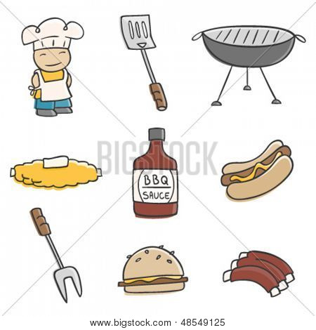 Cute BBQ illustrations.