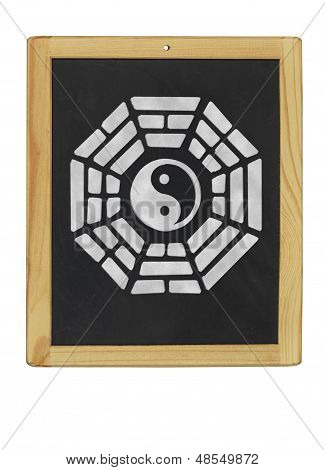 Bagua symbol on a blackboard on a white background