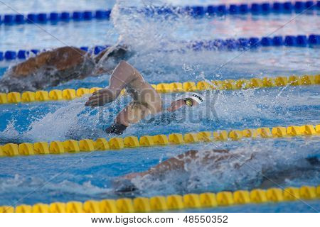 Jul 26 2009; Rome Italy; Paul Biedermann (GER) (white cap) on his way to winning gold medal at the mens 400m freestyle finals at the 13th Fina World Aquatics Championship