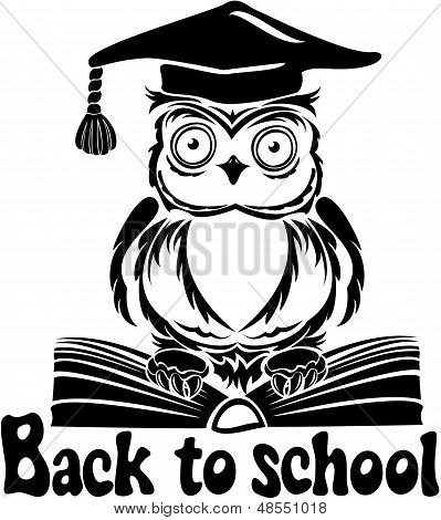 Decorative Bird - Owl With Graduation Cap And Book, Isolated On White Background. Back To School Emb